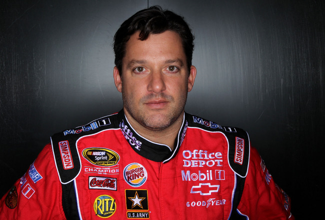 DAYTONA BEACH, FL - FEBRUARY 10:  Tony Stewart, driver of the #14 Office Depot Chevrolet, poses during the 2011 NASCAR Sprint Cup Series Media Day at Daytona International Speedway on February 10, 2011 in Daytona Beach, Florida.  (Photo by Nick Laham/Gett
