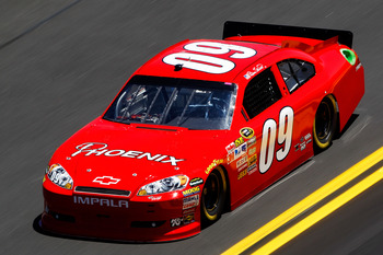 DAYTONA BEACH, FL - FEBRUARY 12:  Bill Elliott, driver of the #09 Phoenix Construction Chevrolet, practices for the NASCAR Sprint Cup Series Daytona 500 at Daytona International Speedway on February 12, 2011 in Daytona Beach, Florida.  (Photo by Chris Gra