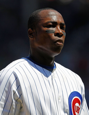 CHICAGO - JULY 03: Alfonso Soriano #12 of the Chicago Cubs waits on 3rd base as the Cincinnati Reds change pitchers at Wrigley Field on July 3, 2010 in Chicago, Illinois. The Cubs defeated the Reds 3-1.  (Photo by Jonathan Daniel/Getty Images)
