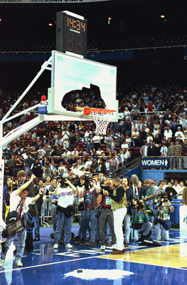March 31:  A view of a broken backboard taken during a practice session before a 1995 Final Four game on March 31, 1995. (Photo by Steve Dunn/Getty Images)