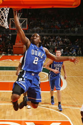 CORAL GABLES, FL - FEBRUARY 13: Nolan Smith #2 of the Duke Blue Devils goes to the basket against the Miami Hurricanes on February 13, 2011 at the BankUnited Center in Coral Gables, Florida. (Photo by Joel Auerbach/Getty Images)