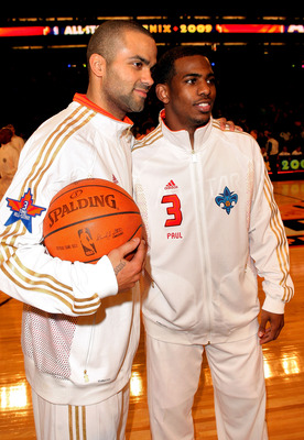 PHOENIX - FEBRUARY 15:  Tony Parker (L) and Chris Paul of the Wester Conference team pose during the 58th NBA All-Star Game, part of 2009 NBA All-Star Weekend at US Airways Center on February 15, 2009 in Phoenix, Arizona.  (Photo by Jason Merritt/Getty Im
