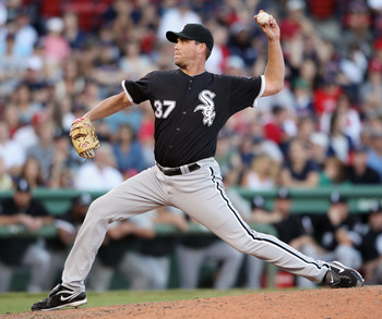 BOSTON - SEPTEMBER 05:  Matt Thornton #37 of the Chicago White Sox delivers a pitch in the ninth inning against the Boston Red Sox on September 5, 2010 at Fenway Park in Boston, Massachusetts.The White Sox defeated the Red Sox 7-5.  (Photo by Elsa/Getty I