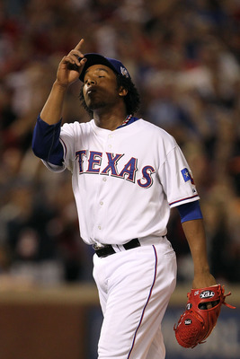 ARLINGTON, TX - OCTOBER 30:  Neftali Feliz #30 of the Texas Rangers reacts after he recorded the final out of their 4-2 win against the San Francisco Giants in Game Three of the 2010 MLB World Series at Rangers Ballpark in Arlington on October 30, 2010 in