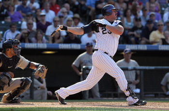 DENVER - SEPTEMBER 15:  Jason Giambi #23 of the Colorado Rockies takes an at bat against the San Diego Padres at Coors Field on September 15, 2010 in Denver, Colorado. The Rockies defeated the Padres 9-6.  (Photo by Doug Pensinger/Getty Images)