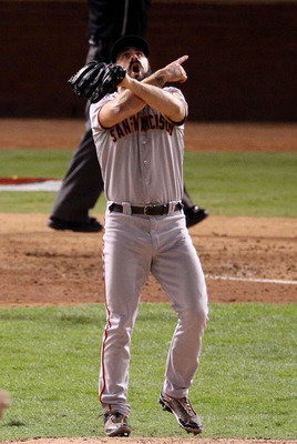 ARLINGTON, TX - NOVEMBER 01:  Brian Wilson #38 of the San Francisco Giants celebrates striking out Nelson Cruz #17 of the Texas Rangers (not pictured) to win the 2010 MLB World Series 3-1 at Rangers Ballpark in Arlington on November 1, 2010 in Arlington,