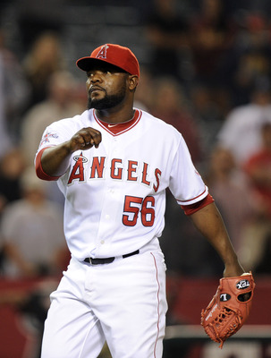 ANAHEIM, CA - SEPTEMBER 20:  Fernando Rodney #56 of the Los Angeles Angels of Anaheim reacts to a 7-4 win over the Texas Rangers during the ninth inning at Angel Stadium on September 20, 2010 in Anaheim, California.  (Photo by Harry How/Getty Images)