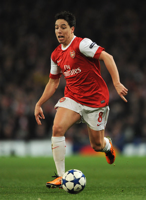 LONDON, ENGLAND - FEBRUARY 16: Samir Nasri of Arsenal in action during the UEFA Champions League round of 16 first leg match between Arsenal and Barcelona at the Emirates Stadium on February 16, 2011 in London, England.  (Photo by Jasper Juinen/Getty Imag