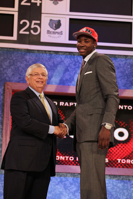 NEW YORK - JUNE 24:  Ed Davis stands with NBA Commisioner David Stern after being drafted thirteenth by The Toronto Raptors at Madison Square Garden on June 24, 2010 in New York City.  NOTE TO USER: User expressly acknowledges and agrees that, by download
