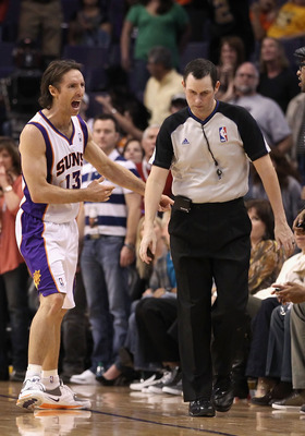 PHOENIX, AZ - JANUARY 30:  Steve Nash #13 of the Phoenix Suns reacts to a non call by the referee late in the fourth quarter of the NBA game against  the New Orleans Hornets at US Airways Center on January 30, 2011 in Phoenix, Arizona. The Suns defeated t