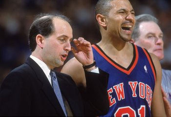 27 Mar 2001:  Head Coach Jeff Van Gundy of the New York Knicks looks stunned as Mark Jackson #31 reacts to the play during the game against the Sacramento Kings at the Arco Arena in Sacramento, California. The Kings defeated the Knicks 124-117.  NOTE TO U