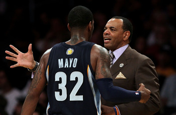 LOS ANGELES, CA - NOVEMBER 02:  Head coach Lionel Hollins of the Memphis Grizzlies talks to O.J. Mayo #32 in the game against the Los Angeles Lakers at Staples Center on November 2, 2010 in Los Angeles, California. The Lakers defeated the Grizzlies 124-10