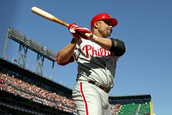 SAN FRANCISCO - OCTOBER 19:  Placido Polanco #27 of the Philadelphia Phillies stands on deck against the San Francisco Giants in Game Three of the NLCS during the 2010 MLB Playoffs at AT&T Park on October 19, 2010 in San Francisco, California.  (Photo by