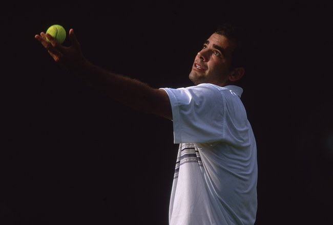 27 Jun 2001:  Pete Sampras of the USA prepares to serve during the second round of the Wimbledon Lawn Tennis Championship held at the All England Lawn Tennis and Croquet Club, in Wimbledon, London. \ Mandatory Credit: Gary M Prior/Allsport
