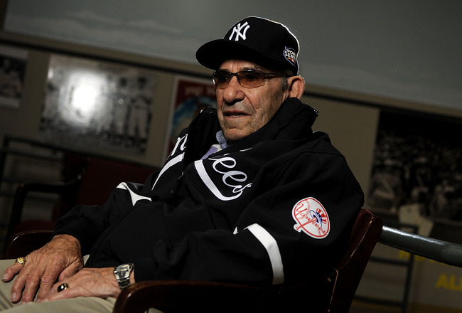 LITTLE FALLS, NY - NOVEMBER 23:  Baseball Hall of Famer Yogi Berra is interviewed at the Yogi Berra Museum and and Learning Center on November 23, 2009 in Little Falls, New Jersey.  (Photo by Jeff Zelevansky/Getty Images for NASCAR)
