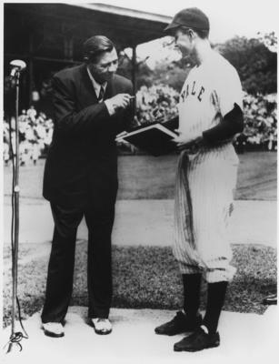 Bush and The Babe: The Yale first baseman meets a living legend before a game in 1948