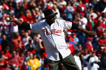 PHILADELPHIA - OCTOBER 07:  Dick Allen, former player for the Philadelphia Phillies throws out the ceremonial first pitch prior to Game One of the NLDS between the Philadelphia Phillies and the Colorado Rockies during the 2009 MLB Playoffs at Citizens Ban