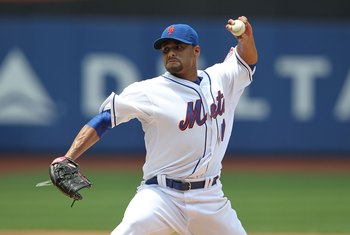 NEW YORK - JUNE 26:  Johan Santana #57 of the New York Mets pitches against the Minnesota Twins at Citi Field on June 26, 2010 in the Flushing neighborhood of the Queens borough of New York City.  (Photo by Nick Laham/Getty Images)