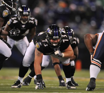 BALTIMORE - DECEMBER 20:  Marshal Yanda #73 of the Baltimore Ravens defends against the Chicago Bears at M&T Bank Stadium on December 20, 2009 in Baltimore, Maryland. The Ravens defeated the Bears 31-7. (Photo by Larry French/Getty Images)