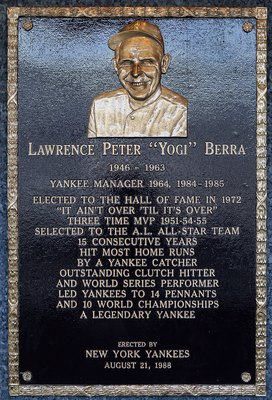 NEW YORK - MAY 02:  The plaque of Yogi Berra is seen in Monument Park at Yankee Stadium prior to the game between the New York Yankees and the Chicago White Sox on May 2, 2010 in the Bronx borough of New York City. The Yankees defeated the White Sox 12-3.