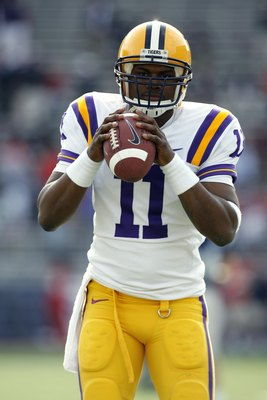 OXFORD, MS - NOVEMBER 17: Ryan Perrilloux #11 of the LSU Tigers during warmups before a game against the Mississippi Rebels on November 17, 2007 at Vaught-Hemingway Stadium/Hollingsworth Field in Oxford, Mississippi. LSU beat Mississippi 41-24. (Photo by