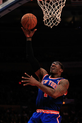 NEW YORK, NY - FEBRUARY 16:  Amar'e Stoudemire #1 of the New York Knicks lays the ball up against the Atlanta Hawks at Madison Square Garden on February 16, 2011 in New York City. NOTE TO USER: User expressly acknowledges and agrees that, by downloading a