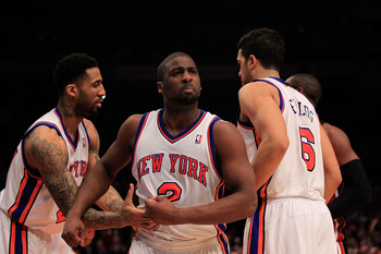 NEW YORK, NY - JANUARY 27:  Raymond Felton #2 of the New York Knicks reacts during the game against the Miami Heat at Madison Square Garden on January 27, 2011 in New York City. NOTE TO USER: User expressly acknowledges and agrees that, by downloading and