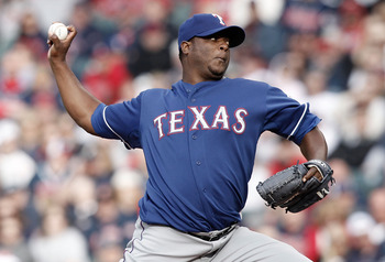 CLEVELAND, OH- APRIL 12: Frank Francisco #50 of the Texas Rangers pitches against the Cleveland Indians during the Opening Day game on April 12, 2010 at Progressive Field in Cleveland, Ohio.  (Photo by Jared Wickerham/Getty Images)
