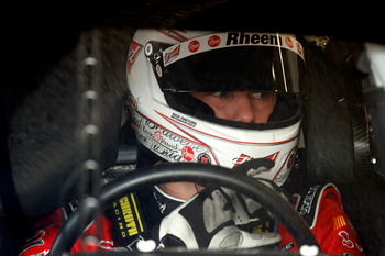 DAYTONA BEACH, FL - FEBRUARY 16:  Kevin Harvick, driver of the #29 Budweiser Chevrolet, sits in his car during practice for the NASCAR Sprint Cup Series Daytona 500 at Daytona International Speedway on February 16, 2011 in Daytona Beach, Florida.  (Photo