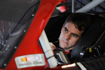 DAYTONA BEACH, FL - FEBRUARY 16:  Jeff Gordon, driver of the #24 Drive to End Hunger Chevrolet, during practice for the NASCAR Sprint Cup Series Daytona 500 at Daytona International Speedway on February 16, 2011 in Daytona Beach, Florida.  (Photo by Todd