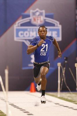 INDIANAPOLIS, IN - MARCH 2: Defensive back Chris Hawkins of Louisiana State runs the 40 yard dash during the NFL Scouting Combine presented by Under Armour at Lucas Oil Stadium on March 2, 2010 in Indianapolis, Indiana. (Photo by Scott Boehm/Getty Images)