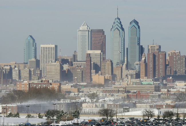 PHILADELPHIA - JANUARY 23:  Parked cars are shown outside of the stadium with the downtown Philadelphia skyline in the background before the start of the NFC Championship game between the Atlanta Falcons and the Philadelphia Eagles at Lincoln Financial Fi