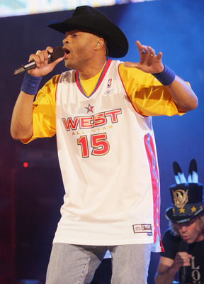 DENVER - FEBRUARY 20:  Cowboy Troy of Big and Rich performs at the 2005 NBA All Star Game at the Pepsi Center on February 20, 2005 in Denver, Colorado.  (Photo by Frank Micelotta/Getty Images)
