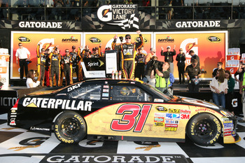 DAYTONA BEACH, FL - FEBRUARY 17:  Jeff Burton, driver of the #31 Caterpillar Chevrolet, celebrates in Victory Lane after winning the second race of the NASCAR Sprint Cup Series Gatorade Duel at Daytona International Speedway on February 17, 2011 in Dayton