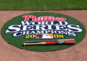 CLEARWATER, FL - FEBRUARY 26:  A new on-deck mat celebrates the Philadelphia Phillies 2008 World Series Championship as spring training play begins against the Toronto Blue Jays February 26, 2009 at Bright House Field in Clearwater, Florida.  (Photo by Al