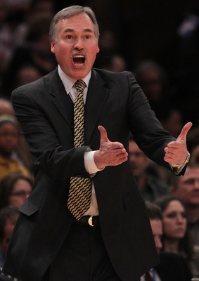 NEW YORK, NY - FEBRUARY 02: Head coach of the New York Knicks, Mike D'Antoni gestures from the bench against the Dallas Mavericks at Madison Square Garden on February 2, 2011 in New York City. NOTE TO USER: User expressly acknowledges and agrees that, by