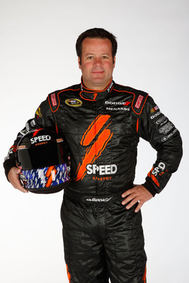 DAYTONA BEACH, FL - FEBRUARY 10:  Robby Gordon, driver of the #7 Speed Energy Drink Toyota, poses during the 2011 NASCAR Sprint Cup Series Media Day at Daytona International Speedway on February 10, 2011 in Daytona Beach, Florida.  (Photo by Chris Graythe