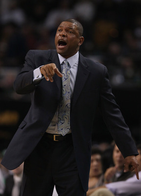 BOSTON, MA - JANUARY 07:  Head coach Doc Rivers of the Boston Celtics directs his players in the first half against the Toronto Raptors on January 7, 2011 at the TD Garden in Boston, Massachusetts. NOTE TO USER: User expressly acknowledges and agrees that