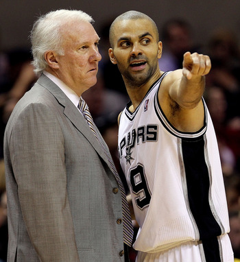 SAN ANTONIO, TX - DECEMBER 28:  Guard Tony Parker #9 of the San Antonio Spurs with Gregg Popovich during play against the Los Angeles Lakers at AT&T Center on December 28, 2010 in San Antonio, Texas.  NOTE TO USER: User expressly acknowledges and agrees t