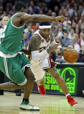 CLEVELAND - MAY 01:  Mo Williams #2 of the Cleveland Cavaliers drives around Tony Allen #42 of the Boston Celtics during Game One of the Eastern Conference Semifinals during the 2010 NBA Playoffs at Quicken Loans Arena on May 1, 2010 in Cleveland, Ohio. C