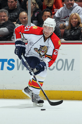 ANAHEIM, CA - DECEMBER 01:  Chris Higgins #21 of the Florida Panthers skates against the Anaheim Ducks at the Honda Center on December 1, 2010 in Anaheim, California.  (Photo by Jeff Gross/Getty Images)