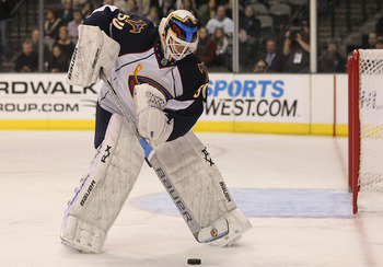 DALLAS, TX - JANUARY 15:  Goaltender Chris Mason of the Atlanta Thrashers at American Airlines Center on January 15, 2011 in Dallas, Texas.  (Photo by Ronald Martinez/Getty Images)