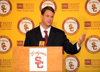 LOS ANGELES, CA - JANUARY 13:  New head coach of the USC Trojans Lane Kiffin is introduced during a press conference at Heritage Hall January 13, 2010 in Los Angeles, California.  (Photo by Harry How/Getty Images)
