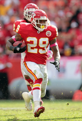 KANSAS CITY, MO - OCTOBER 24:  Safety Eric Berry #29 of the Kansas City Chiefs carries the ball upfield after making an interception during the game against the Jacksonville Jaguars on October 24, 2010 at Arrowhead Stadium in Kansas City, Missouri.  (Phot