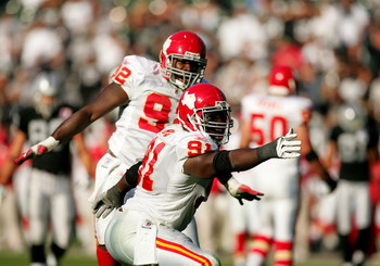 OAKLAND, CA - NOVEMBER 15:  Tamba Hali #91 of the Kansas City Chiefs celebrates after a play during their game against the Oakland Raiders at Oakland-Alameda County Coliseum on November 15, 2009 in Oakland, California.  (Photo by Ezra Shaw/Getty Images)