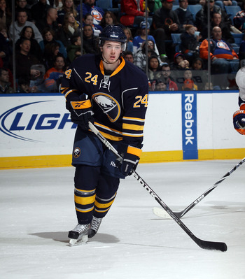 UNIONDALE, NY - JANUARY 23:  Paul Byron #24 of the Buffalo Sabres skates in his first NHL game against the New York Islanders at the Nassau Coliseum on January 23, 2011 in Uniondale, New York. The Sabres defeated the Islanders 5-3.  (Photo by Bruce Bennet