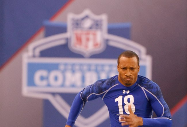 INDIANAPOLIS, IN - MARCH 2: Defensive back Brandon Ghee of Wake Forest runs the 40 yard dash during the NFL Scouting Combine presented by Under Armour at Lucas Oil Stadium on March 2, 2010 in Indianapolis, Indiana. (Photo by Scott Boehm/Getty Images)