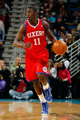 NEW ORLEANS, LA - JANUARY 03:  Jrue Holiday #11 of the Philadelphia 76ers moves the ball against the New Orleans Hornets at New Orleans Arena on January 3, 2011 in New Orleans, Louisiana. NOTE TO USER: User expressly acknowledges and agrees that, by downl