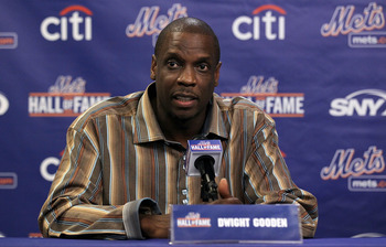 NEW YORK - JULY 31:  Former player Dwight Gooden speaks during a press conference for his induction into the New York Mets Hall of Fame prior to the game against the Arizona Diamondbacks on July 31, 2010 at Citi Field in the Flushing neighborhood of the Q