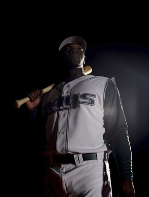 ST. PETERSBURG, FL - FEBRUARY 27: Elijah Dukes #35 poses during Tampa Bay Devil Rays photo day February 27, 2007 at the Raymond A. Naimoli Baseball Complex in St. Petersburg, Florida.  (Photo by Nick Laham/Getty Images)